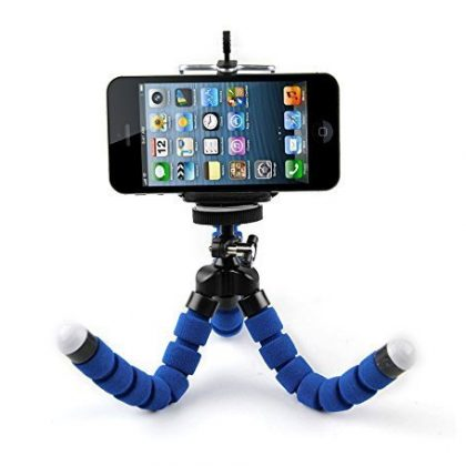 Flexible Mini Portable Tripod Stand with Universal Smartphone Clip Holder